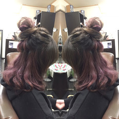 ヘアアレンジ セミロング ハーフアップ 外国人風 ヘアスタイルや髪型の写真・画像