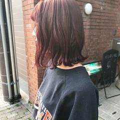 ピンクバイオレット ピンク ミディアム ラベンダーピンク ヘアスタイルや髪型の写真・画像