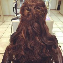 結婚式 エレガント ヘアアレンジ ハーフアップ ヘアスタイルや髪型の写真・画像