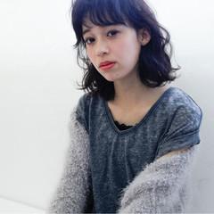 黒髪 ミディアム 大人女子 パーマ ヘアスタイルや髪型の写真・画像