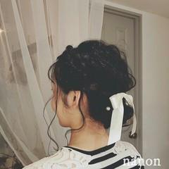 ヘアアレンジ フェミニン 黒髪 ゆるふわ ヘアスタイルや髪型の写真・画像