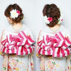 成人式 セミロング ヘアアレンジ 結婚式 ヘアスタイルや髪型の写真・画像