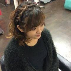 ヘアアレンジ 編み込み ナチュラル ハーフアップ ヘアスタイルや髪型の写真・画像