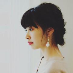 大人女子 フェミニン 簡単ヘアアレンジ ミディアム ヘアスタイルや髪型の写真・画像