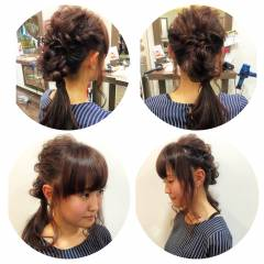 ショート ポニーテール 結婚式 まとめ髪 ヘアスタイルや髪型の写真・画像