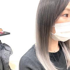 ホワイトグラデーション グラデーションカラー 外国人風フェミニン ミディアム ヘアスタイルや髪型の写真・画像