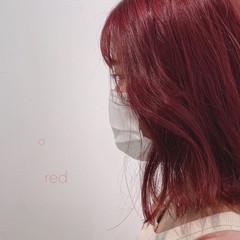 ストリート 韓国 切りっぱなしボブ 赤髪 ヘアスタイルや髪型の写真・画像