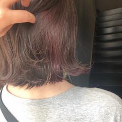 ガーリー ミディアム 簡単ヘアアレンジ ピンクベージュ ヘアスタイルや髪型の写真・画像