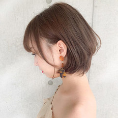 デート アンニュイほつれヘア パーマ ショートボブ ヘアスタイルや髪型の写真・画像