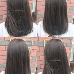 外国人風カラー 透明感 グレージュ フェミニン ヘアスタイルや髪型の写真・画像