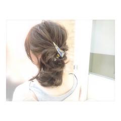 ミディアム フェミニン ゆるふわ ヘアアレンジ ヘアスタイルや髪型の写真・画像