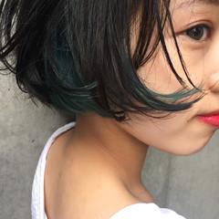 大人かわいい グラデーションカラー 暗髪 ショート ヘアスタイルや髪型の写真・画像