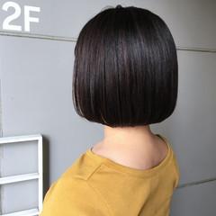 ナチュラル ミニボブ 切りっぱなしボブ ツヤ髪 ヘアスタイルや髪型の写真・画像