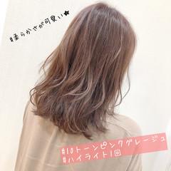 ブリーチカラー 圧倒的透明感 ピンクグレージュ セミロング ヘアスタイルや髪型の写真・画像