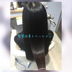 暗髪 髪質改善 ロング ストレート ヘアスタイルや髪型の写真・画像