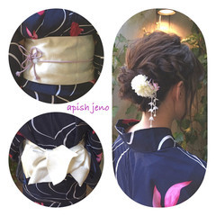 花火大会 和装 簡単ヘアアレンジ 夏 ヘアスタイルや髪型の写真・画像