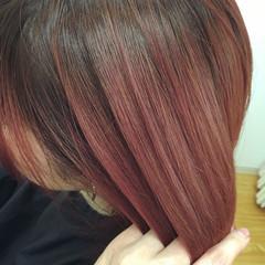 グラデーションカラー ハイトーン ストリート レッド ヘアスタイルや髪型の写真・画像