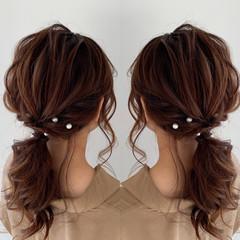 ヘアアレンジ セミロング エレガント デート ヘアスタイルや髪型の写真・画像