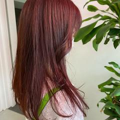 ピンクベージュ ラベンダーピンク ロング ベリーピンク ヘアスタイルや髪型の写真・画像