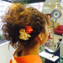 パーティ 着物 アップスタイル ミディアム ヘアスタイルや髪型の写真・画像