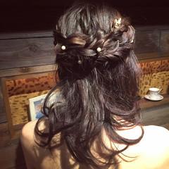ハーフアップ ヘアアレンジ 結婚式 簡単ヘアアレンジ ヘアスタイルや髪型の写真・画像
