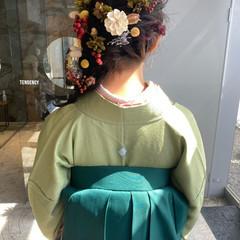 セミロング 袴 ナチュラル 和装ヘア ヘアスタイルや髪型の写真・画像