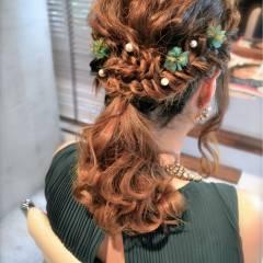 セミロング ナチュラル ヘアアレンジ 結婚式 ヘアスタイルや髪型の写真・画像