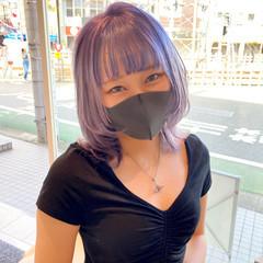 ストリート ウルフレイヤー ラベンダーアッシュ ウルフカット ヘアスタイルや髪型の写真・画像