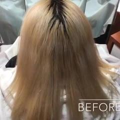 切りっぱなし ホワイトシルバー ホワイトブリーチ 透明感 ヘアスタイルや髪型の写真・画像