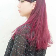 ピンク パープル セミロング ダブルカラー ヘアスタイルや髪型の写真・画像