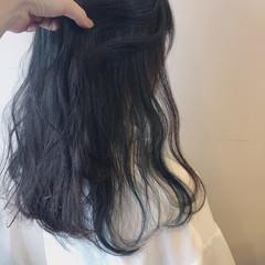 フェミニン グリーン ミント インナーカラー ヘアスタイルや髪型の写真・画像