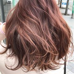 ピンク ベージュ ゆるふわ ラベンダーピンク ヘアスタイルや髪型の写真・画像
