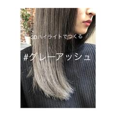 アッシュグレージュ ナチュラル 3Dカラー ブリーチ ヘアスタイルや髪型の写真・画像