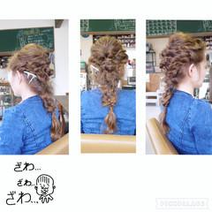 編み込み くるりんぱ ヘアアレンジ ロング ヘアスタイルや髪型の写真・画像