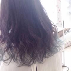 黒髪 グラデーションカラー アッシュ グリーン ヘアスタイルや髪型の写真・画像