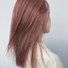 モード ミディアム ピンク ヘアスタイルや髪型の写真・画像