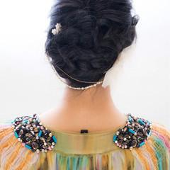 暗髪 ヘアアレンジ セミロング 大人かわいい ヘアスタイルや髪型の写真・画像