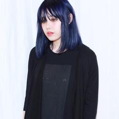 ボブ 暗髪 ネイビー ブルー ヘアスタイルや髪型の写真・画像