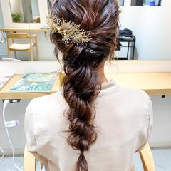 大人かわいい 結婚式 セミロング ナチュラル ヘアスタイルや髪型の写真・画像