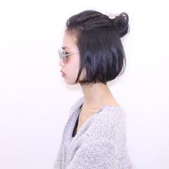 ヘアアレンジ 外国人風 ボブ ハーフアップ ヘアスタイルや髪型の写真・画像