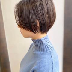 耳かけ 大人かわいい ショートボブ 簡単スタイリング ヘアスタイルや髪型の写真・画像