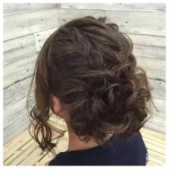 編み込み セミロング 大人かわいい ガーリー ヘアスタイルや髪型の写真・画像