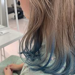 ブリーチ ストリート ターコイズブルー セミロング ヘアスタイルや髪型の写真・画像
