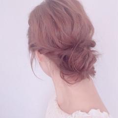セミロング ヘアアレンジ ロープ編み お団子 ヘアスタイルや髪型の写真・画像