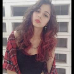 外国人風 ピンク レッド ウェットヘア ヘアスタイルや髪型の写真・画像