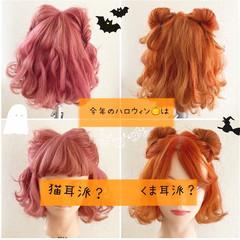 モード ミディアムヘアー ハロウィン セルフヘアアレンジ ヘアスタイルや髪型の写真・画像
