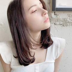 ストレート ナチュラル ミディアム デジタルパーマ ヘアスタイルや髪型の写真・画像