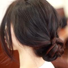 ヘアアレンジ 黒髪 グラデーションカラー 暗髪 ヘアスタイルや髪型の写真・画像