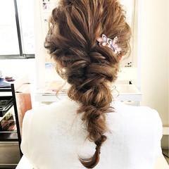 編み込み ロング パーティ ヘアアレンジ ヘアスタイルや髪型の写真・画像
