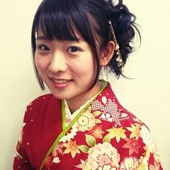 謝恩会 セミロング ヘアアレンジ 袴 ヘアスタイルや髪型の写真・画像